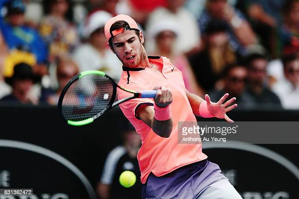 Karen Khachanov of Russia plays a forehand in his match against YenHsun Lu of Taiwan on day nine of the ASB Classic on January 10 2017 in Auckland...