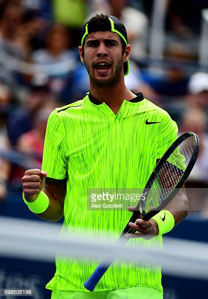 Karen Khachanov of Russia reacts against Kei Nishikori of Japan during his second round Men's Singles match on Day Four of the 2016 US Open at the...