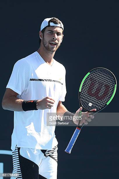 Karen Khachanov of Russia reacts in his first round match against Adrian Nannarinno of France on day one of the 2017 Australian Open at Melbourne...