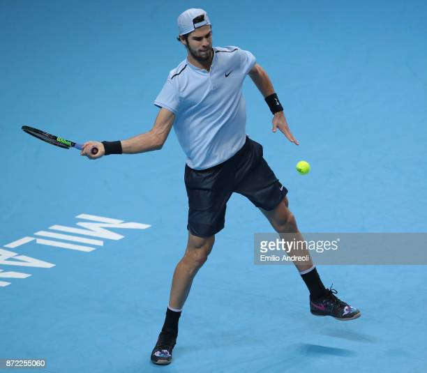 Karen Khachanov of Russia returns a forehand in his match against Borna Coric of Croatia during Day 3 of the Next Gen ATP Finals on November 9 2017...
