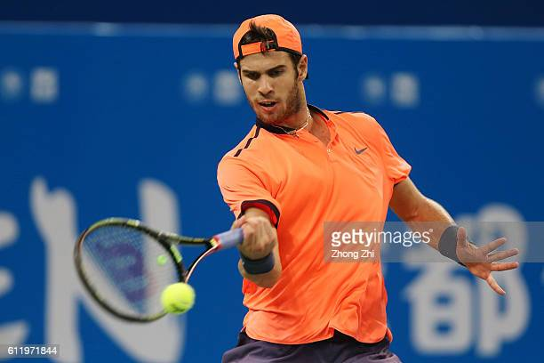 Karen Khachanov of Russia returns a shot during the singles final match against Albert RamosVinolas of Spain on Day 7 of 2016 ATP Chengdu Open at...