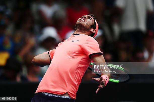 Karen Khachanov of Russia serves in his match against YenHsun Lu of Taiwan on day nine of the ASB Classic on January 10 2017 in Auckland New Zealand
