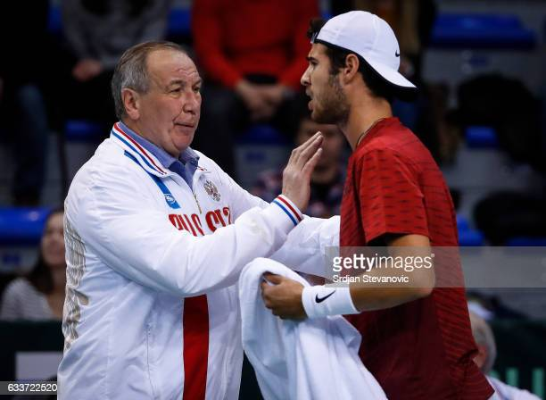 Karen Khachanov talk with the team captain Shamil Tarpischev of Russia aduring the Davis Cup World Group first round single match between Serbia and...