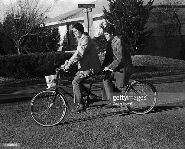 DEC 23 1971 DEC 29 1971 Karen Koelling Right and Genevieve Hammond A Neighbor Ride Tandem Bicycle Miss Koelling who is blind has completed...