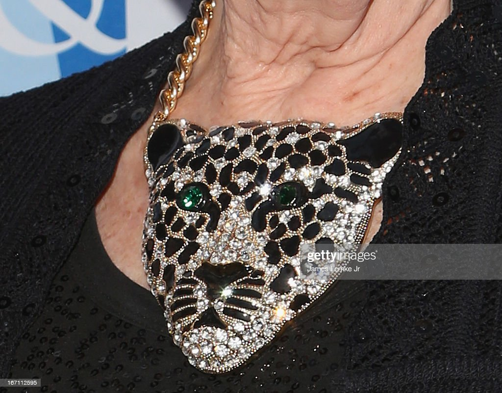 Karen Kramer (jewelry detail) attends The L.A. Gay & Lesbian Center's Lily Tomlin/Jane Wagner Cultural Arts Center Presents Conversations With Coco With Special Guest Jane Fonda held at The Renberg Theatre on April 20, 2013 in Los Angeles, California.
