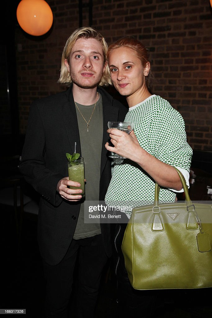 Karen Langley and Dominic Jones attend the BLK DNM Dinner with Johan Lindeberg and Kim Sion at Beagle Restaurant on May 8, 2013 in London, England.