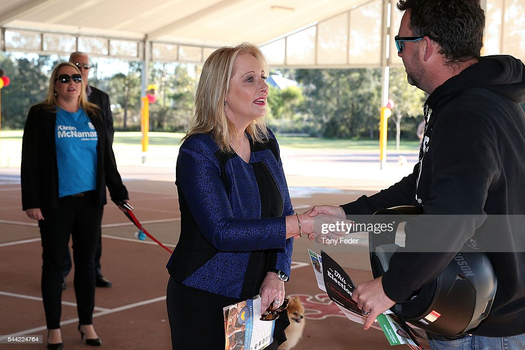 Karen McNamara The Federal Member for Dobell meets a voter outside the Woongarrah Public School in the electorate of Dobell on July 2, 2016 in Gosford, Australia. Voters head to the polls today to elect the 45th parliament of Australia.