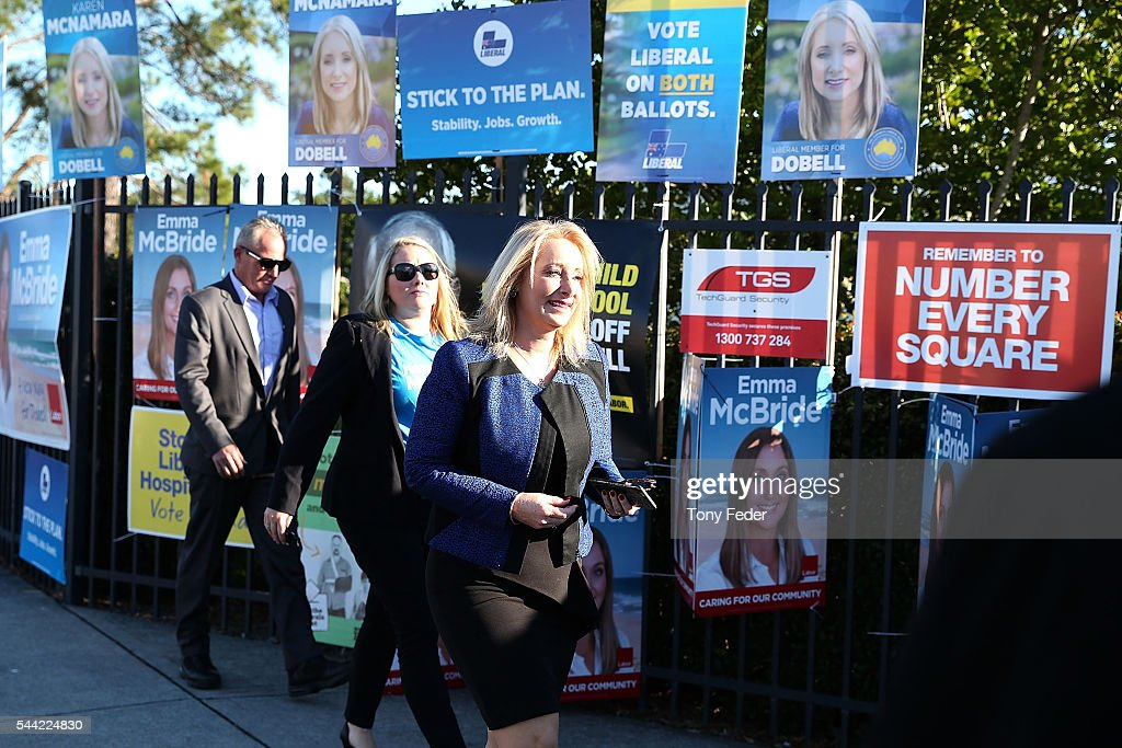 Karen McNamara The Federal Member for Dobell meets voters outside the Woongarrah Public School in the electorate of Dobell on July 2, 2016 in Gosford, Australia. Voters head to the polls today to elect the 45th parliament of Australia.