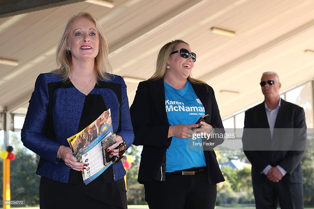 Karen McNamara (L) The Federal Member for Dobell outside the Woongarrah Public School in the electorate of Dobell on July 2, 2016 in Gosford, Australia. Voters head to the polls today to elect the 45th parliament of Australia.
