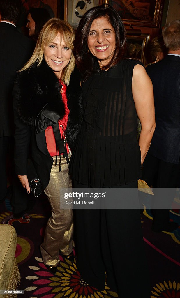 Karen Millen (L) and Nishi Yates attend a private dinner hosted by Fawaz Gruosi, founder of de Grisogono, at Annabels on April 28, 2016 in London, England.