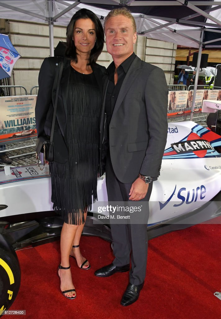 Karen Minier and David Coulthard attend the World Premiere of 'Williams' hosted by Martini at The Curzon Mayfair on July 11, 2017 in London, England.