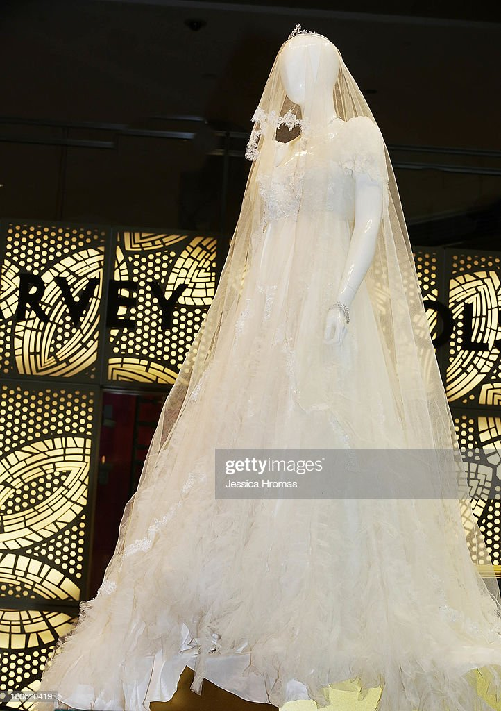 Karen Mok's wedding dress and other memorabilia from films and performances worn by the singer and actress Karen Mok are now on display at the Karen Mok 20th Anniversary Exhibition at the Landmark building, Central on September 15, 2013 in Hong Kong, Hong Kong.
