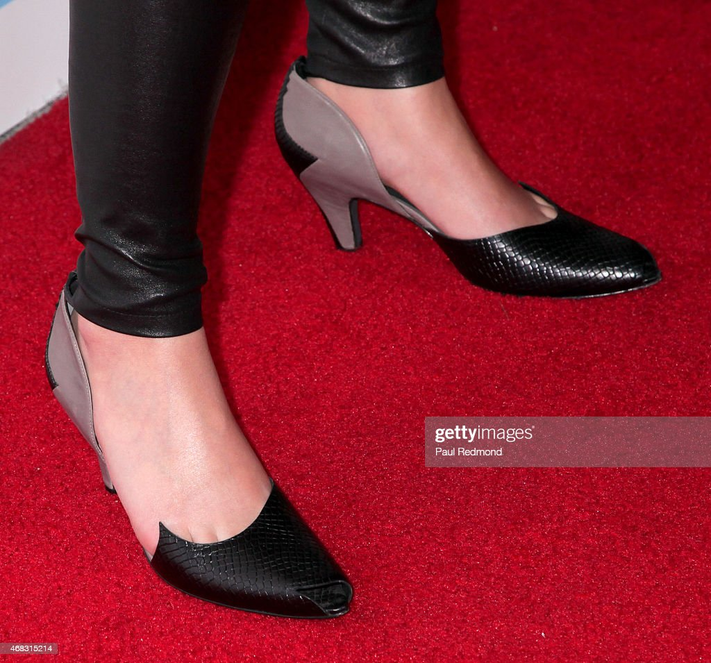 Karen O of the band Yeah Yeah Yeahs, shoe detail, arriving at The Music of David Lynch Benefiting the 10th anniversary of The David Lynch Foundation at The Ace Hotel Theater on April 1, 2015 in Los Angeles, California.