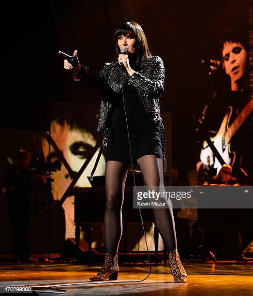 Karen O performs onstage during the 30th Annual Rock And Roll Hall Of Fame Induction Ceremony at Public Hall on April 18 2015 in Cleveland Ohio