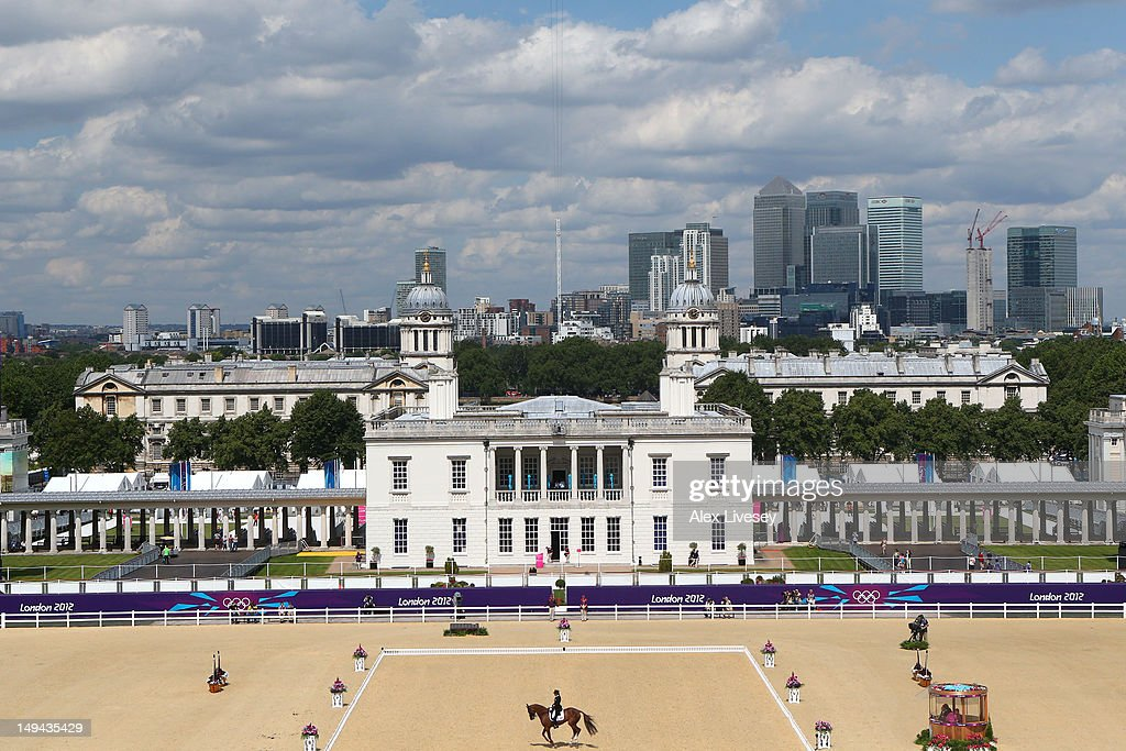 Karen O'Connor of the United States riding Mr Medicott competes in the Dressage Equestrian event on day one of the London 2012 Olympic Games at Greenwich Park on July 28, 2012 in London, England.