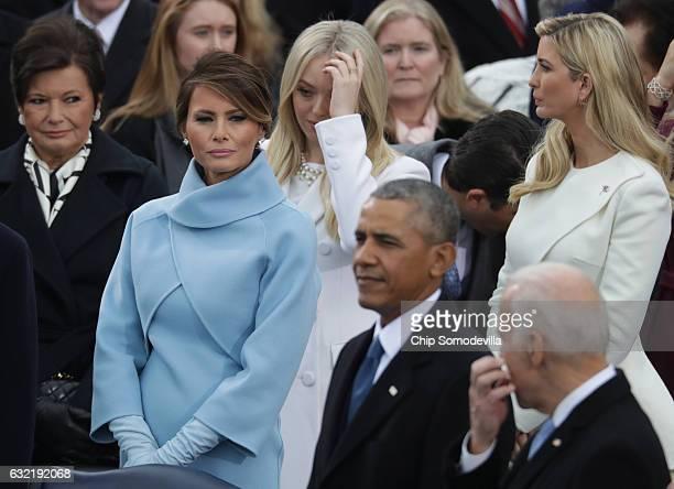 Karen Pence Melania Trump Tiffany Trump US President Barack Obama Joe Biden and Ivanka Trump arrive on the West Front of the US Capitol on January 20...