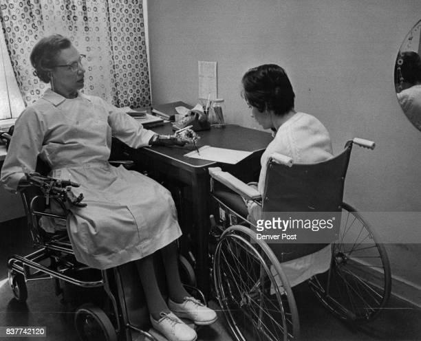 Karen Phillips a Craig Rehabilitation Hospital outpatient from Longmont Colo practices on communication abilities Teacher is Miss A Irene Armistead...