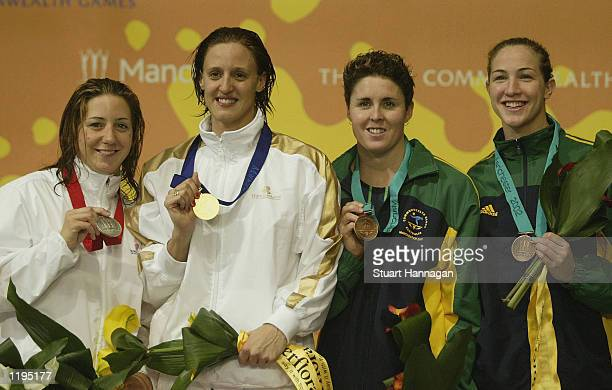 Karen Pickering of England Karen Legg Petrie Thomas and Elka Graham of Australia receive their medals for the womens 200m Freestyle final during the...