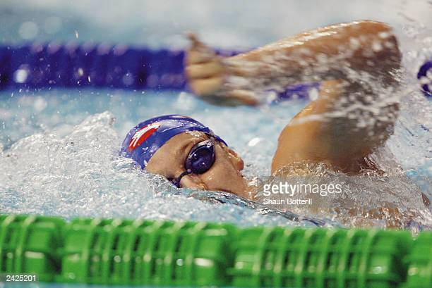 Karen Pickering of Great Britain competes during the Women's 200m Freestyle Semifinals during the 10th Fina World Swimming Championships 2003 at...
