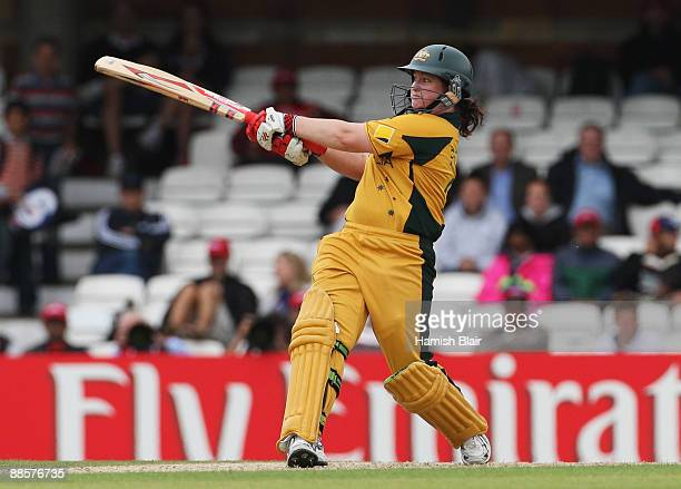 Karen Rolton of Australia hits out during the ICC Women's World Twenty20 Semi Final between England and Australia at the Brit Oval on June 19 2009 in...