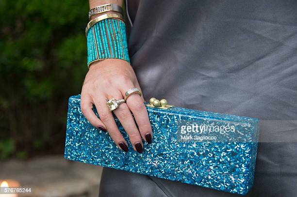 Karen Shiboleth fashion accessory detail attends Daily Front Row's Philipp Plein Dinner on July 16 2016 at the Maidstone in East Hampton New York
