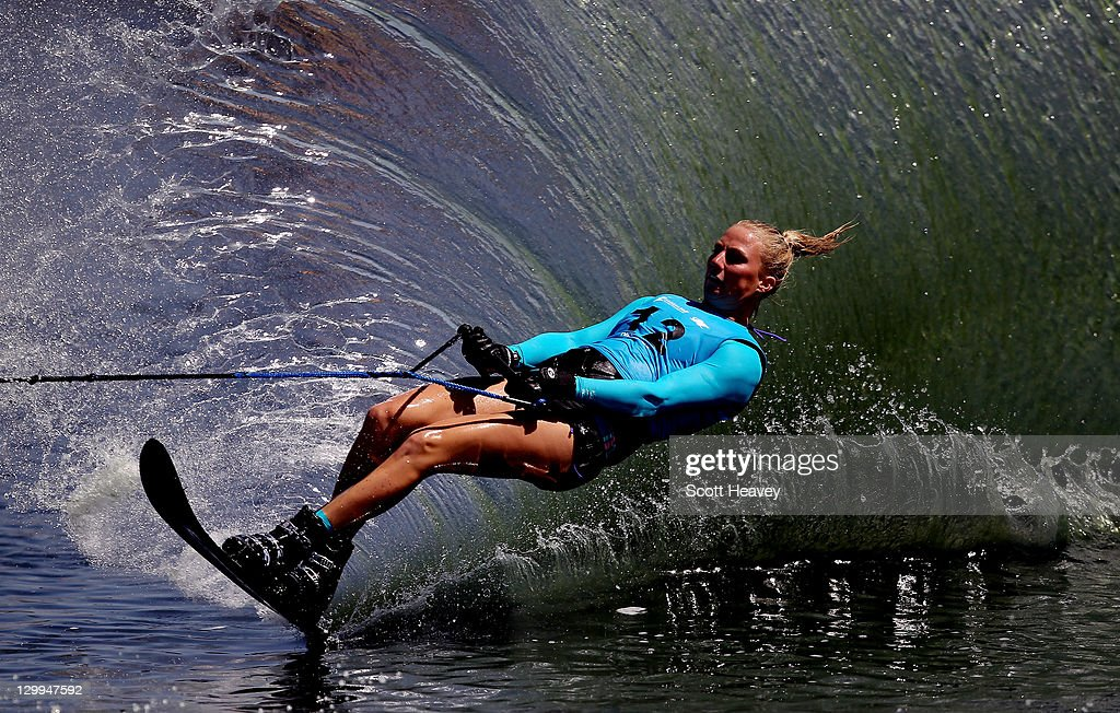 Karen Stevens of Canada in action during the Women's Slalom Overall at Boca Laguna Water Ski Club during Day Eight of the XVI Pan American Games on October 22, 2011 in Guadalajara, Mexico.