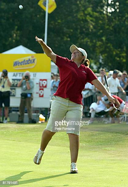 Karen Stupples celebrates winning the Weetabix Women's British Open at the Sunningdale Golf Club