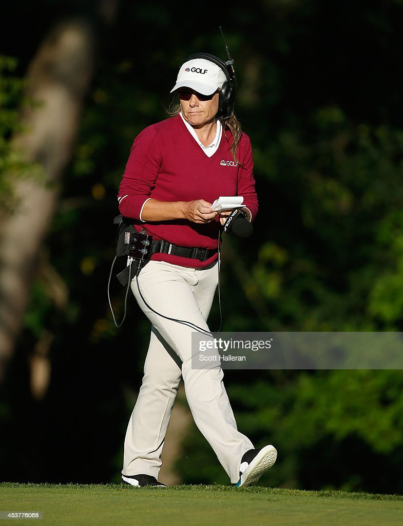 <a gi-track='captionPersonalityLinkClicked' href=/galleries/search?phrase=Karen+Stupples&family=editorial&specificpeople=208952 ng-click='$event.stopPropagation()'>Karen Stupples</a> reports for Golf Channel during the final round of the Wegmans LPGA Championship at Monroe Golf Club on August 17, 2014 in Pittsford, New York.