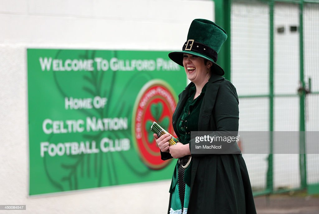 CARLISLE, ENGLAND - NOVEMBER 16 Karen the club mascot and programme seller outside stadium during the Ebac Division One football match between Celtic Nation and Hebburn Town on November 16, 2013 at Gillford Park in Carlisle, England.
