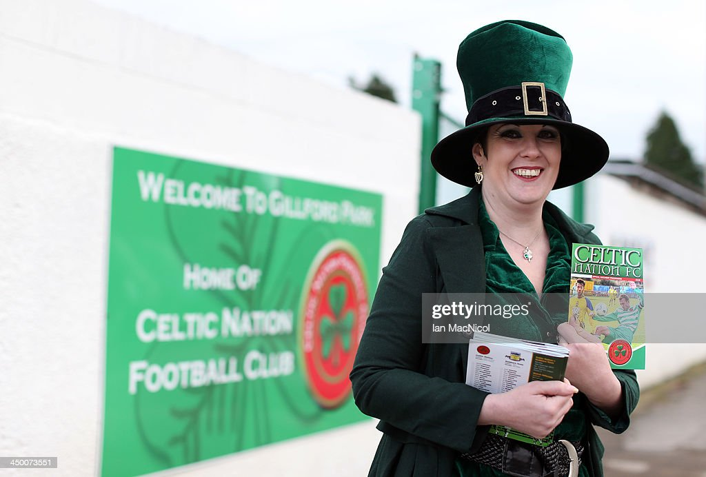 CARLISLE, ENGLAND - NOVEMBER 16 Karen the club mascot and programme seller outside the stadium during the Ebac Division One football match between Celtic Nation and Hebburn Town on November 16, 2013 at Gillford Park in Carlisle, England.