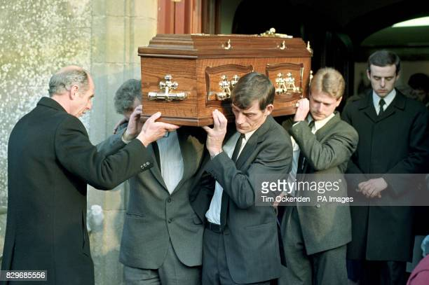 Karen Thompson's coffin is carried out of St Finlough's Church by Steven Mullen's father and her brother Karen was killed along with Steven during a...