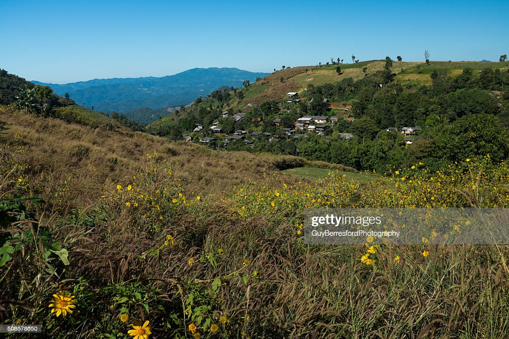 Karen village on the hillside : Bildbanksbilder