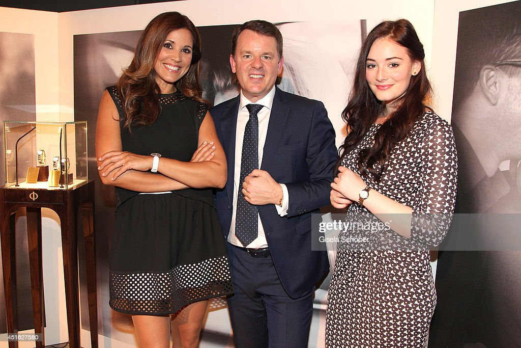 Karen Webb, Alain Zimmermann (CEO Baume & Mercier), <a gi-track='captionPersonalityLinkClicked' href=/galleries/search?phrase=Maria+Ehrich&family=editorial&specificpeople=6149528 ng-click='$event.stopPropagation()'>Maria Ehrich</a> attends the presentation of the Baume & Mercier 'Promesse' Ladies Collection at Haus der Kunst on July 2, 2014 in Munich, Germany.