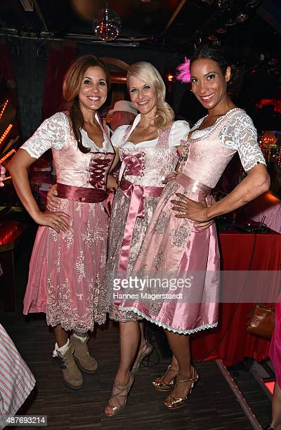 Karen Webb Natascha Gruen and Annabelle Mandeng during the dress burlesque party by Dresscodedcom at Paradiso on September 10 2015 in Munich Germany