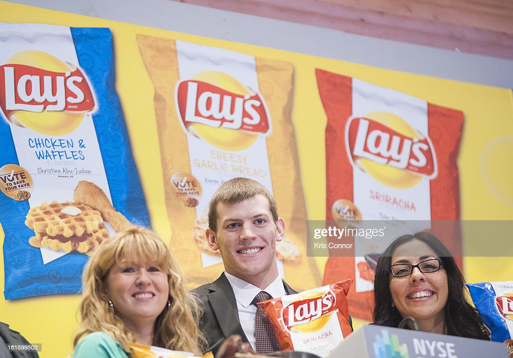 Karen Weber-Mendham, Christina Abu-Judom and Tyler Raineri pose for a photo during the NYSE Celebrates Lay's 'Do Us a Flavor' Contest Finalists during the opening bell at New York Stock Exchange on February 12, 2013 in New York City.