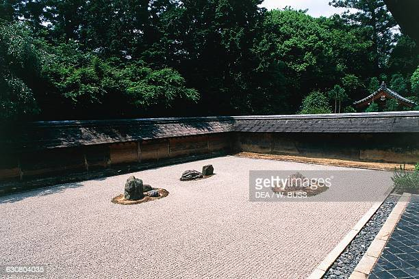 Karesansuistyle garden at the Ryoanji Zen temple Kyoto Kansai Japan 15th century