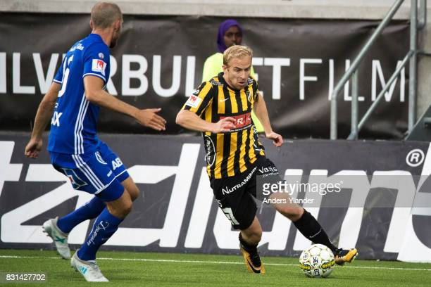 Kari Arkivuo of BK Hacken controls the ball during the Allsvenskan match between BK Hacken and GIF Sundsvall at Bravida Arena on August 14 2017 in...