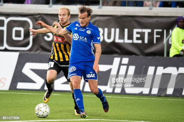 Kari Arkivuo of BK Hacken fight for the ball with Eric Larsson of GIF Sundsvall during the Allsvenskan match between BK Hacken and GIF Sundsvall at...
