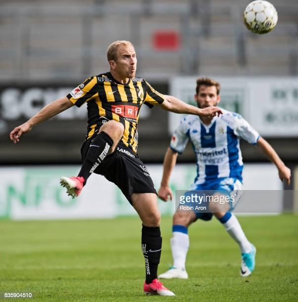 Kari Arkivuo of BK Hacken shoots during the Allsvenskan match between IFK Goteborg and BK Hacken at Gamla Ullevi on August 20 2017 in Gothenburg...