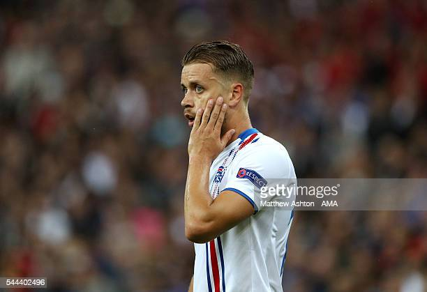 Kari Arnason of Iceland during the UEFA Euro 2016 quarter final match between France and Iceland at Stade de France on July 3 2016 in Paris France