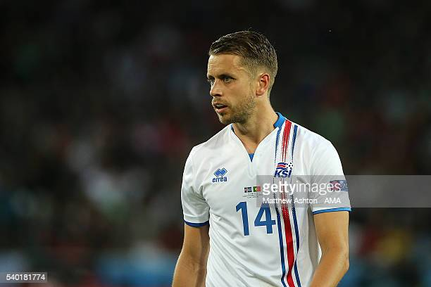 Kari Arnason of Iceland in action during the UEFA EURO 2016 Group F match between Portugal and Iceland at Stade GeoffroyGuichard on June 14 2016 in...