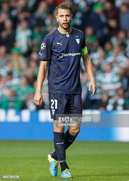 Kari Arnason of Malmo FF in action during the UEFA Champions League Qualifying play off first leg match between Celtic FC and Malmo FF at Celtic Park...