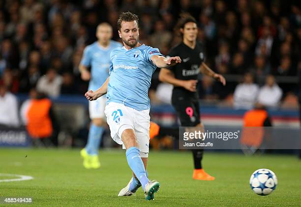 Kari Arnason of Malmo in action during the UEFA Champions League match between Paris SaintGermain and Malmo FF at Parc des Princes stadium on...