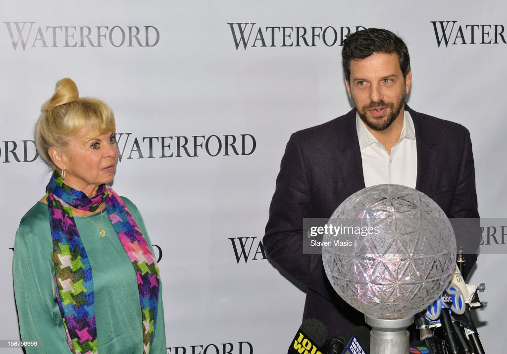Kari Clark and Tim Tompkins attend the installation of 288 New Waterford Crystals on the 2013 Times Square New Year's Eve Ball at One Times Square on December 27, 2012 in New York City.