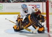 Kari Lehtonen of the Chicago Wolves eyes the puck behind the goal line against the Hamilton Bulldogs during the American Hockey League game at Copps...