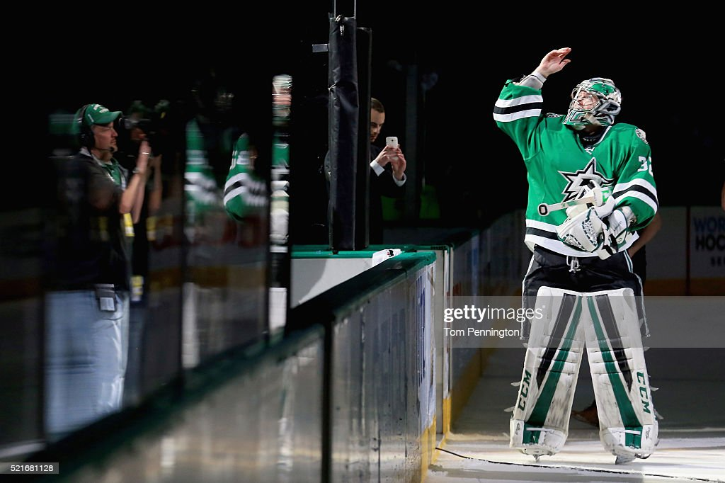 Kari Lehtonen of the Dallas Stars celebrates after the Stars beat the Minnesota Wild 21 in Game Two of the Western Conference Quarterfinals during...