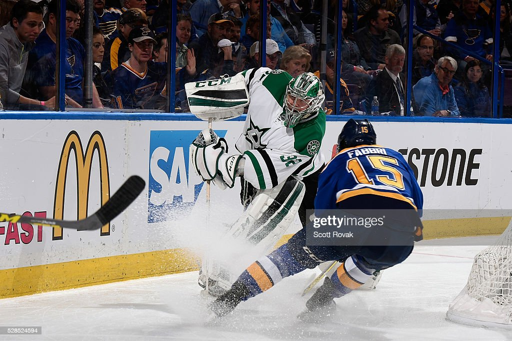 <a gi-track='captionPersonalityLinkClicked' href=/galleries/search?phrase=Kari+Lehtonen&family=editorial&specificpeople=211612 ng-click='$event.stopPropagation()'>Kari Lehtonen</a> #32 of the Dallas Stars clears the puck past Robby Fabbri #15 of the St. Louis Blues in Game Four of the Western Conference Second Round during the 2016 NHL Stanley Cup Playoffs at the Scottrade Center on May 5, 2016 in St. Louis, Missouri.