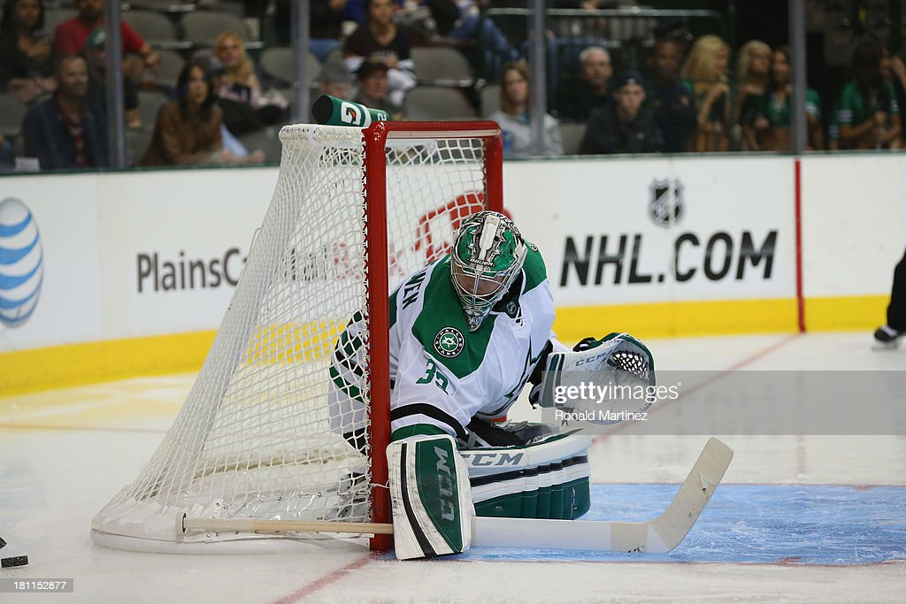 <a gi-track='captionPersonalityLinkClicked' href=/galleries/search?phrase=Kari+Lehtonen&family=editorial&specificpeople=211612 ng-click='$event.stopPropagation()'>Kari Lehtonen</a> #32 of the Dallas Stars during a preseason game at American Airlines Center on September 18, 2013 in Dallas, Texas.