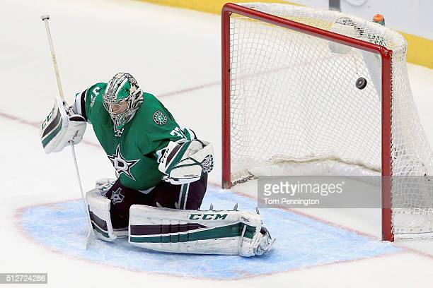 Kari Lehtonen of the Dallas Stars fails to stop the game winnning goal against the New York Rangers in the third period at American Airlines Center...