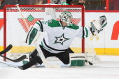 Kari Lehtonen of the Dallas Stars makes a glove save against the Ottawa Senators at Canadian Tire Centre on November 3 2013 in Ottawa Ontario Canada